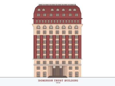 Dominion Trust Building Vancouver windows vector simple line illustration icon flat door building