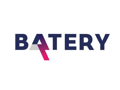 Batery logo idea flash electricity energy bolt light accumulator batery battery