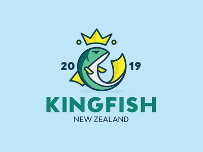 Kingfish sushi restaurant fishing king logo logo line animal illustration natural fish eating royal king sea crown