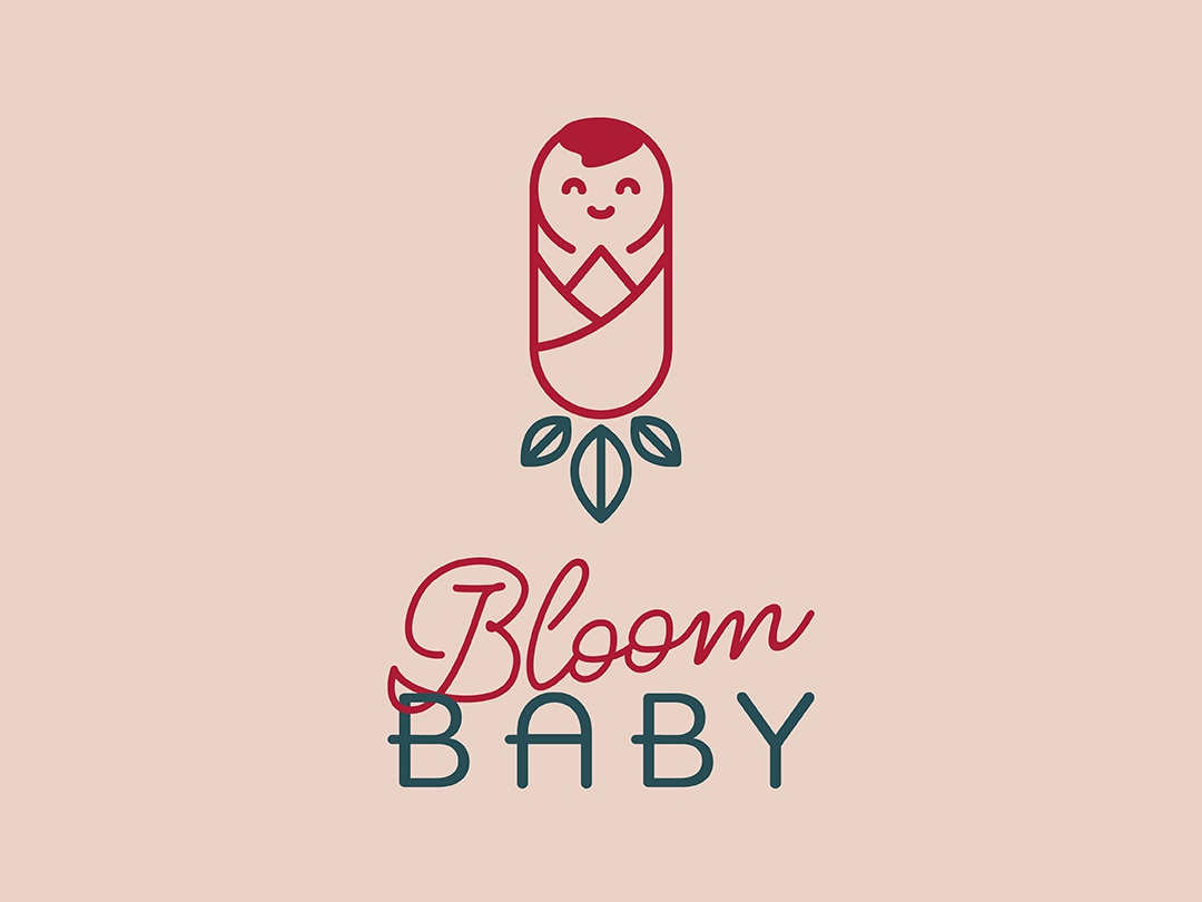 Baby Clothing Brand baby logo blooming symetry typography illustration geometric design design logo