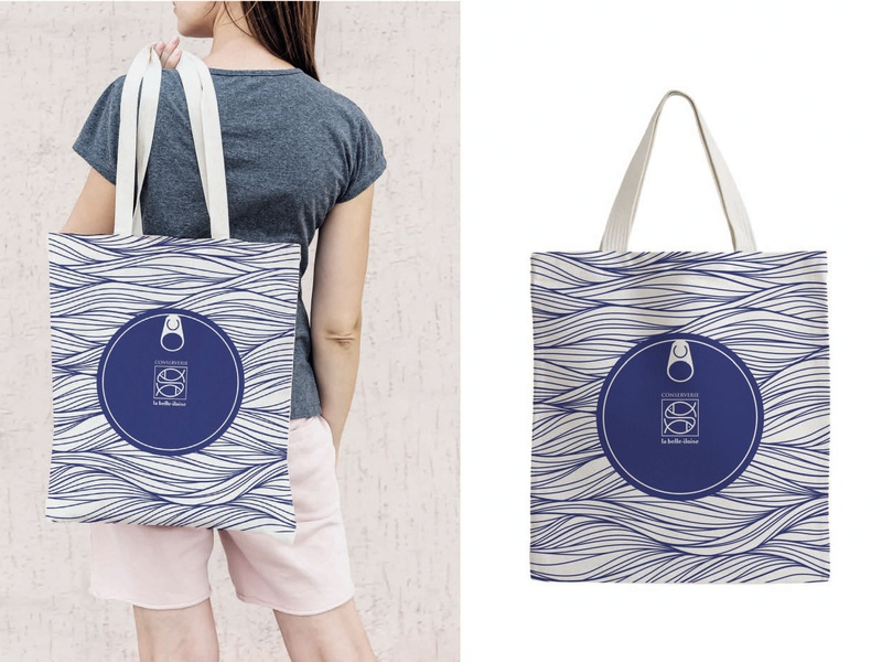 Textile design for brand tote bag