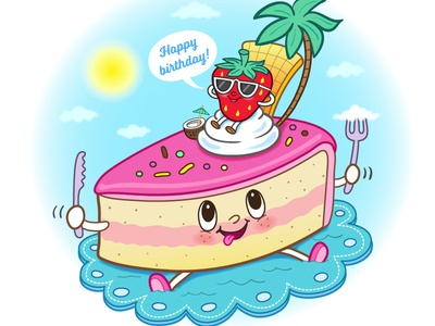 Cake island vector illustration fun island birthdaycake happy birthday strawberry