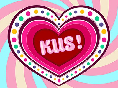 Candy kiss! typography candy pink sweet vector postcard design love