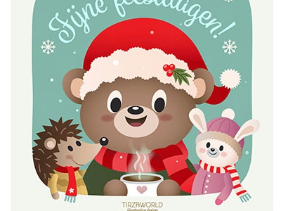 Card design X-mas cute heart illustration vector green red holiday christmas rabbit hedgehog bear animals