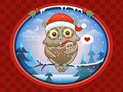 Christmas card owl owl baby candy holidays winter heart red cute snow christmas