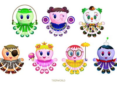 Octo fashion kids game character portfolio kawai cute fashion octopus
