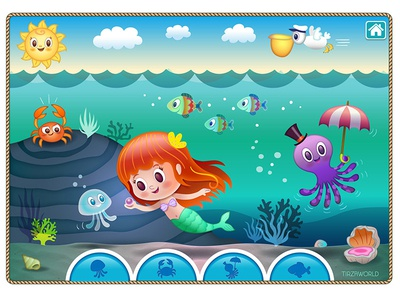 Cute mermaid game concept color children puzzle interface under water game concept