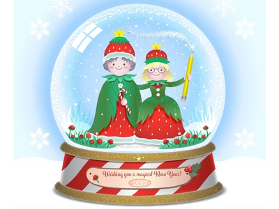 Magical New Year! red cute winter snowglobe couple strawberry 2017 new year