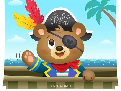 Pirate Bear ship brown character cute kids card design illustraton