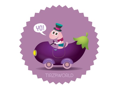 The eggplant collective stickerbook character sticker fun illustration car cute worm eggplant purple