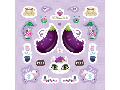 Sticker sheet  character sticker fun illustration worm eggplant baby purple