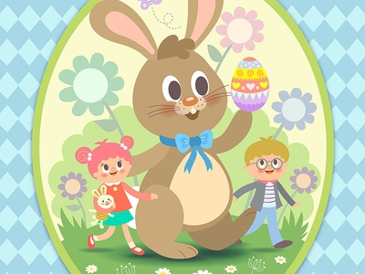 Happy Easter egg happy children card design cute easterbunny easter