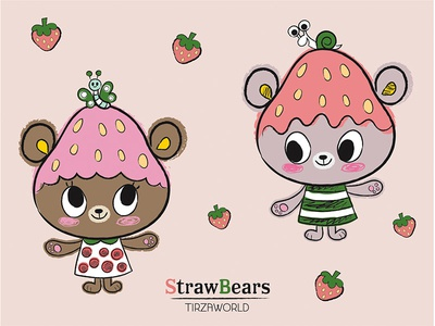 Strawbears strawberry characters bears kawaii cute