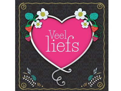 Veel Liefs flowers love pink gold black cute strawberry card design illustraton