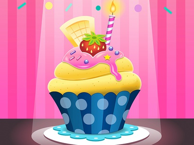 Cupcake Happy Birthday carddesign party sweet candy kawaii cute pink cupcake happy birthday