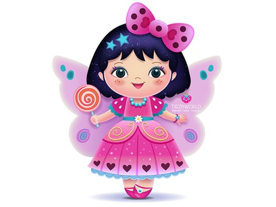 Little fairy fantasy fairytale character illustration children girl pink kawaii cute candy fairy
