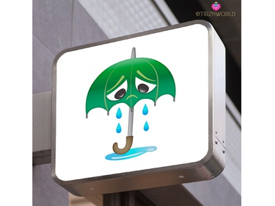 Umbrella sign tears sign cute sad character umbrella
