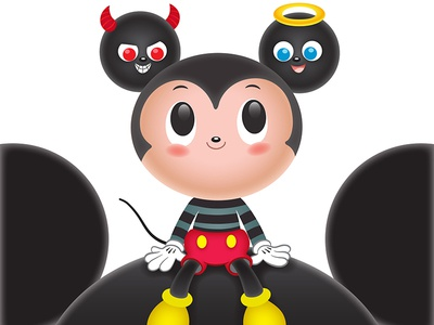#QuickieMickey tirzaworld kawaii angel devil disney character cute mickey mouse