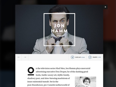 Editorial Grid — Article View editorial web article layout grid rectangle brandon grotesque drop modal