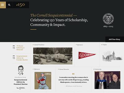 Cornell 150th Anniversary cornell .edu grid university education redesign web design responsive rwd layout freight sans freight serif