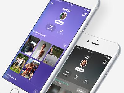 Profile UI avatar sharing grid photos translucent profile product design app ios