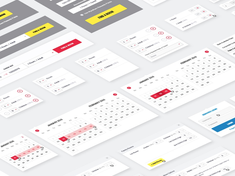 Booking Widget Patterning patterns library component selectors calendar components hotel booking ux
