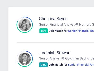 Enterprise Hiring Dashboard - Detail graphik radial avatars recruiting progress ux ui dashboard