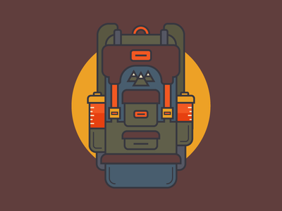 Backpack infographic hike waterbottle backpack illustration