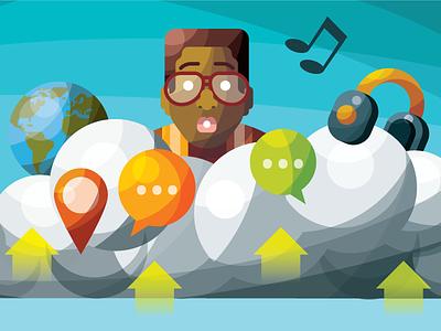 did i do that?  infographic illustration glasses music globe storage millenials steve urkel