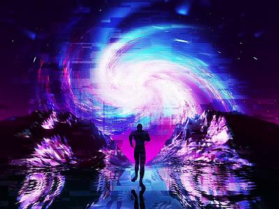 IN x DREAMS glitch c4d cinema 4d 3d digital art digital space art space low poly retrowave future retrofuture vaporwave synthwave retro neon loop after effects mograph motion graphics