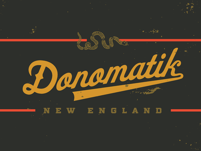 Donomatik script logo 'Gunmetal' flat branding logo design lettering donomatik debut new england boston vector design script typography type logotype logo