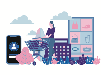 Shopping day mobile apps application online shopping shopping web vector flat illustration graphic design