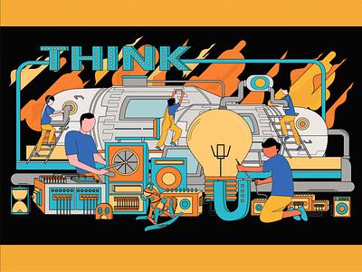 Think worker graphic design design art flat illustration machine work illustrator design graphic design artwork illustration vector