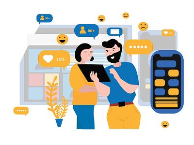 social media interaction flat illustration app web socialmedia graphic design illustrator flat design artwork vector illustration