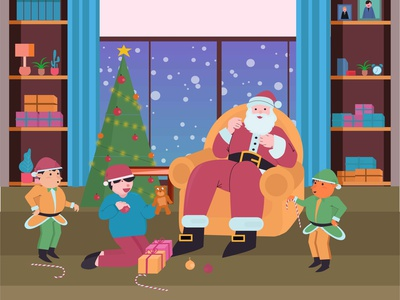 Santa ,kid and elf celebrating christmas eve christmas santaclaus graphic design illustrator flat illustration design graphic art flat artwork design illustration vector