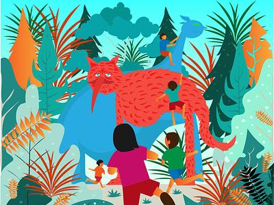 Kids Adventure flat artwork vector design illustration