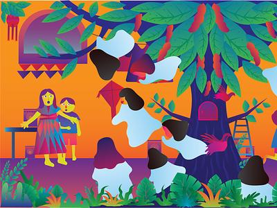 Children Ghost story vector illustration art
