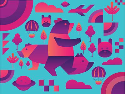 Bear garden vector artwork uiux illustration bear