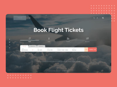 Landing page design for an online booking portal