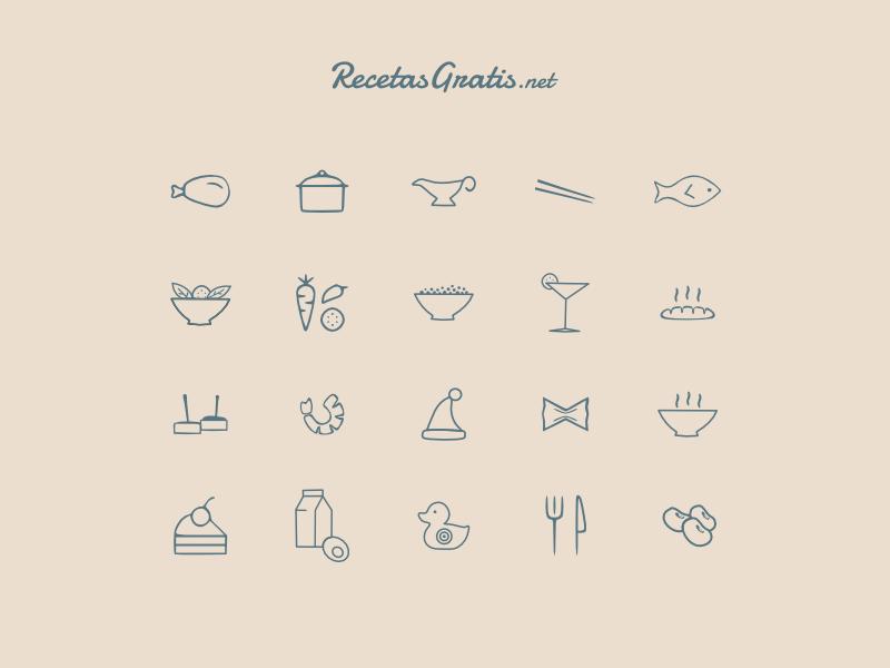 Icons for RecetasGratis.net recetas recipes recipe recetasgratis.net new project cook cooking icons symbols blue brown