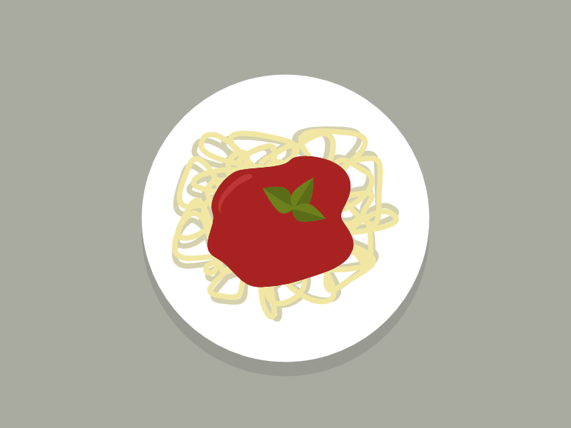 Spaghetti flatten flattening dinner dish food color invitation plant plate spaghetti