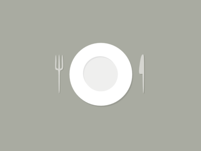Empty dish with fork and knife