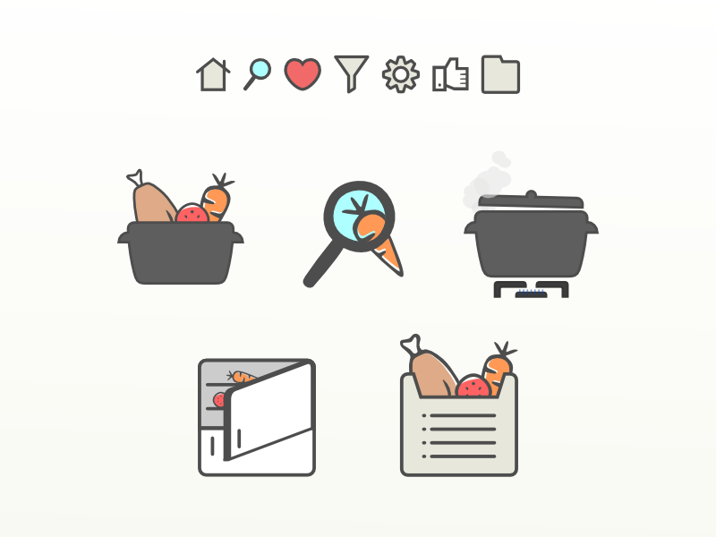 RecetaGratis' Visual Universe recipes recetasgratis illustration vector icons