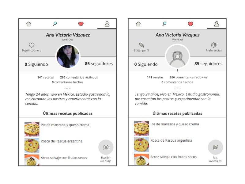 New profile concept for RecetasGratis.net APP cooking recipes recetasgratis profile app