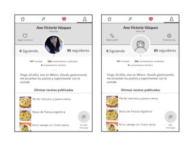 New profile concept for RecetasGratis.net APP