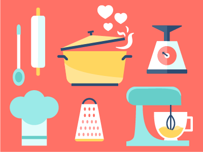 Date Night Cooking Class class illustration utensils baking cooking kitchen chef kitchenaid mixer love icons date