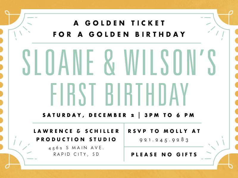 Willy Wonka Birthday Invite mint gold type typography invitation invite birthday willy wonka golden ticket event print party