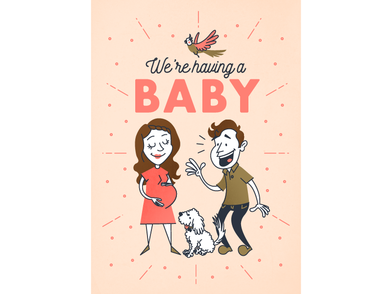 We're having a baby! dad mom pregnant cartoon typography bird dog characters retro illustration announcement baby