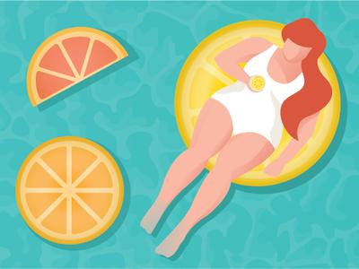 Pool Time red hair swim relax water summer illustration character lady curvy woman grapefruit orange lemon citrus floaty pool