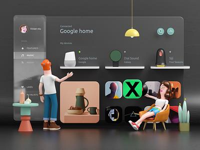 Smart Home Dashboard dark dashboard ux flat c4d smart home charachter design illustration ui 3d design